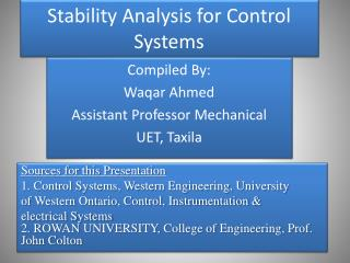 Stability Analysis for Control Systems