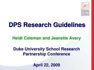 DPS Research Guidelines