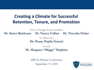 Creating a Climate for Successful Retention, Tenure, and Promotion