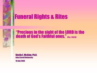 Funeral Rights & Rites