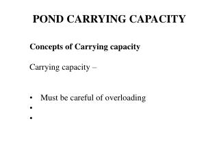 POND CARRYING CAPACITY