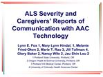 ALS Severity and Caregivers