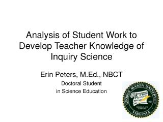 Analysis of Student Work to Develop Teacher Knowledge of Inquiry Science