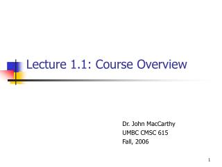 Lecture 1.1: Course Overview