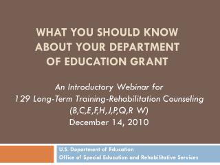 What you should know about your Department of Education Grant