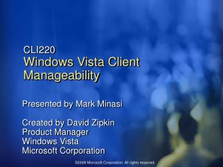 CLI220 Windows Vista Client Manageability