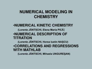 NUMERICAL MODELING IN CHEMISTRY