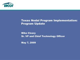 Texas Nodal Program Implementation: Program Update
