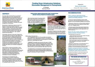 Funding Green Infrastructure Solutions: Stormwater Management in Pennsylvania