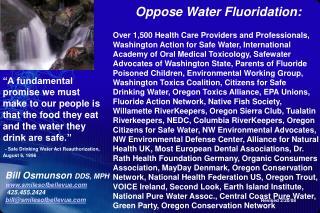 Oppose Water Fluoridation: