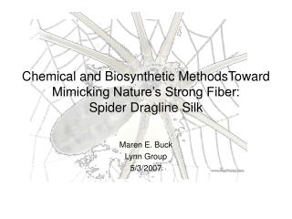 Chemical and Biosynthetic MethodsToward  Mimicking Nature's Strong Fiber:  Spider Dragline Silk