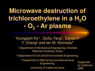 Microwave destruction of trichloroethylene in a H 2 O - O 2  - Ar plasma