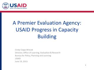 A Premier Evaluation Agency: USAID Progress in Capacity Building