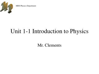 Unit 1-1 Introduction to Physics