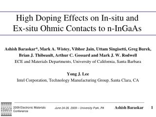 High Doping Effects on In-situ and Ex-situ Ohmic Contacts to n-InGaAs