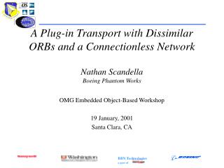 A Plug-in Transport with Dissimilar ORBs and a Connectionless Network Nathan Scandella Boeing Phantom Works