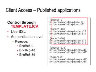 Client Access – Published applications