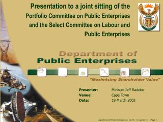 Presentation to a joint sitting of the P ortfolio  Committee on Public Enterprises and the Select Committee on Labour an