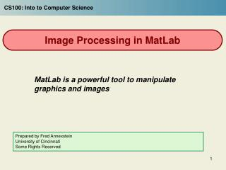 Image Processing in MatLab