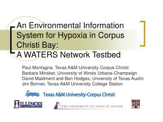 An Environmental Information System for Hypoxia in Corpus Christi Bay:  A WATERS Network Testbed