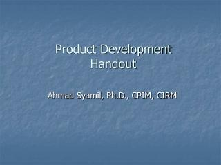 Product Development Handout