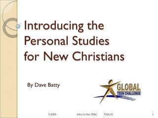 Introducing the  Personal Studies  for New Christians