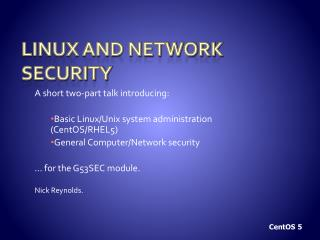 Linux and network security