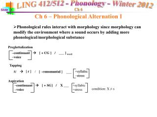 Ch 6 – Phonological Alternation I