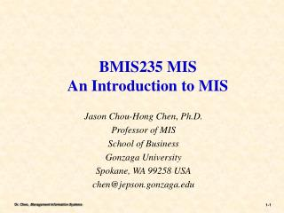 BMIS235  MIS  An Introduction to MIS