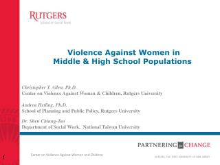 V iolence  Against Women in  Middle  & High School Populations