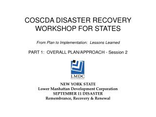 COSCDA DISASTER RECOVERY WORKSHOP FOR STATES
