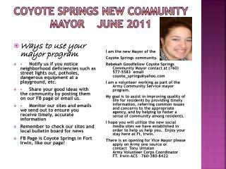 Coyote Springs New Community mayor June 2011
