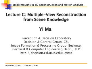 Lecture G: Multiple-View Reconstruction from Scene Knowledge