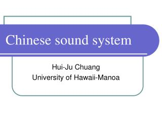 Chinese sound system