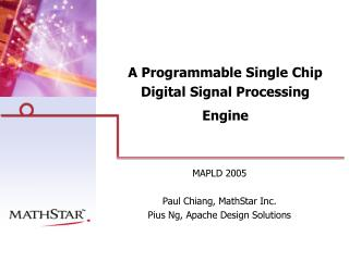 A Programmable Single Chip Digital Signal Processing Engine