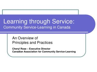 Learning through Service: Community Service-Learning in Canada