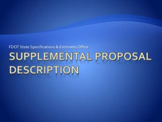 Supplemental Proposal Description