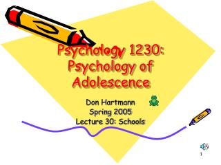 Psychology 1230: Psychology of Adolescence