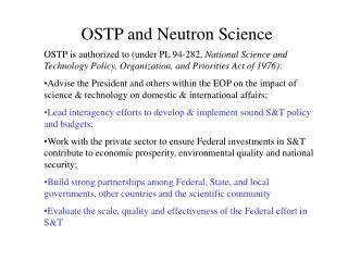 OSTP and Neutron Science