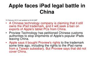 Apple faces iPad legal battle in China