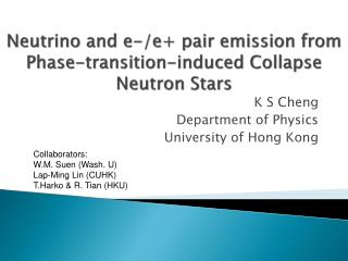 Neutrino and e-/e+ pair emission from  Phase-transition-induced Collapse Neutron Stars
