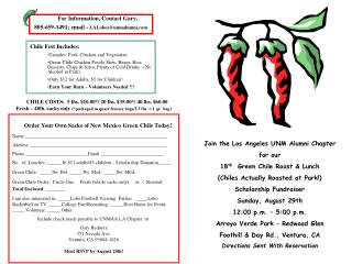 Join the Los Angeles UNM Alumni Chapter for our  18 th   Green Chile Roast & Lunch (Chiles Actually Roasted at Park!) S