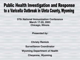 Public Health Investigation and Response