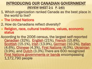 Introducing  our Canadian  Government         (Review  Sheet  2-1   p. 140 )