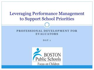 Leveraging Performance Management to Support School Priorities