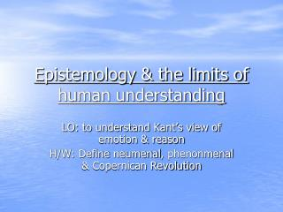 Epistemology & the limits of human understanding