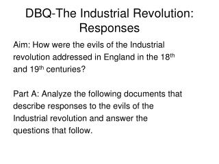 DBQ-The Industrial Revolution: Responses