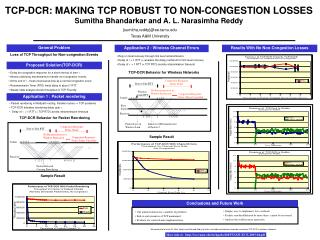 TCP-DCR: MAKING TCP ROBUST TO NON-CONGESTION LOSSES Sumitha Bhandarkar and A. L. Narasimha Reddy 	{sumitha,reddy}@ee.ta
