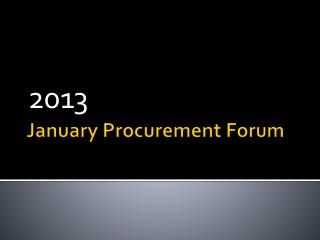 January Procurement Forum