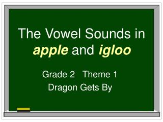 The Vowel Sounds in  apple  and  igloo